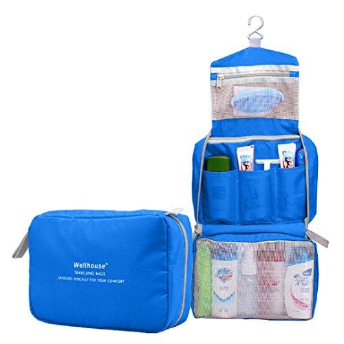 Kulturtasche zum Aufhängen Kulturbeutel Kulturtasche zum Aufänhangen Waschtasche Toiletbag Kosmetiktasche Reisetasche Beutel Bag für Reisen, Outdoor, Urlaubs, Geschäftsreise-BLAU