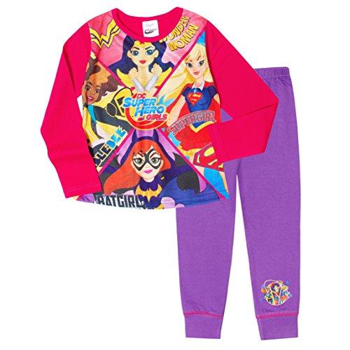 Mädchen DC Super Hero Wonder Woman Hummel SUPERGIRL Pyjama Größen von 4 to 10 Years - Mehrfarbig, 9-10 Years (Batgirl Kinder-schlafanzug)
