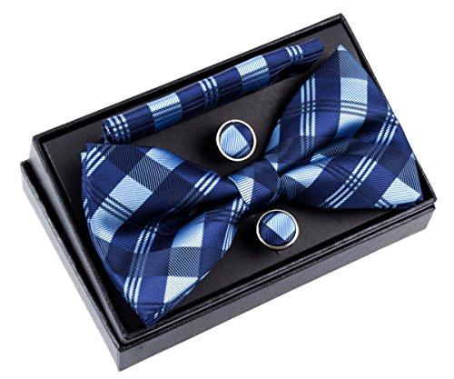 Retreez Herren Gewebte vorgebundene Fliege Tartan Plaid Muster 13 cm und Einstecktuch und Manschettenknöpfe im Set, Geschenkset, Weihnachtsgeschenke - blau
