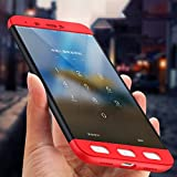 Ntron Dual Hybrid 3-in-1 Matte Finish Hard Back Cover Case for Xiaomi Redmi Note 4 - (Black red)