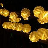 30 LED Guirlande Solaire Extérieure, 6M Guirlande Lumineuse Lanterne Lumière Decorative pour Intérieure et Extérieure,Fête Noël, Jardin, Mariage, Terrasse, Balcon (Blanc Chaud)