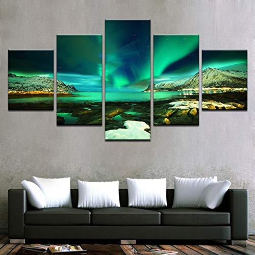 GIAOGE Gemälde HD-Drucke Leinwand Modulare Bilder Wandkunst Rahmen 5 Stück Polarregion Aurora Gemälde Green Lake Poster Wohnkultur Zimmer,40x60 40x80 40x100cm,No Frame