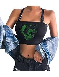 Mochilas de Mujeres, Camisola Bordada dragón remeras ZOELOVE Mujeres Tank Top Sexy Reflective Bralet Hebilla Tube Top Chaleco Cami