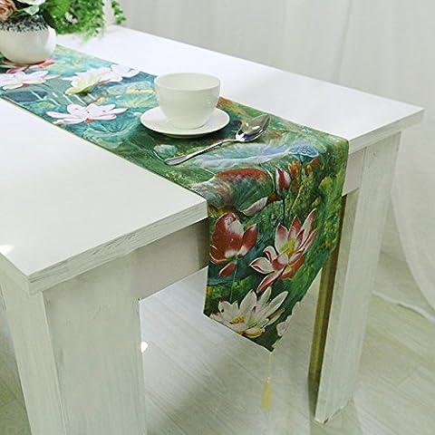 Cinese classico di qualità biancheria da letto di cotone Lotus tabella stile di bandiera tavolino flag flag letto , Tabella indicatore con la bordatura 32*220, verde lotus