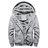 MRULIC Herren Hoodie Pullover Winter Warme Fleece Jacke Zipper Sweater Jacke Outwear Mantel RH-054(Grau,EU-46/CN-XL)