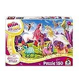 Schmidt Spiele 56247 Mia & Me, Glitzerpuzzle, Ankunft der Pony-Einhörner, 150 Teile, Weiss