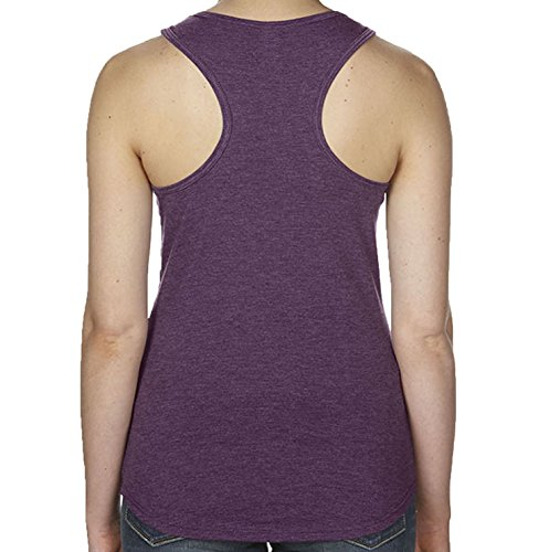 Womens Yoga Supersoft Tri-blend Om Symbol with Tree Racerback Tank T-shirt. Heather Aubergine