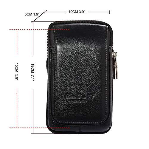 fda5d61e1e Marsupio Borsello in pelle da cintura per Uomo smartphone telefono Custodia  tracolla cellulare verticale portafoglio Mini borse viaggio con clip iPhone  8/7 ...