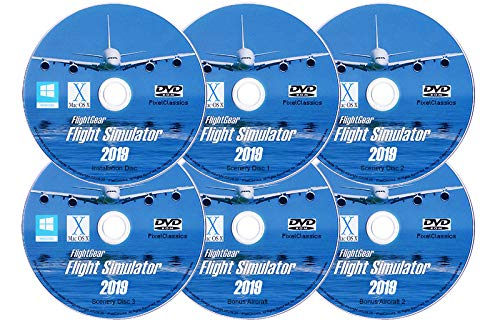 Flight Simulator 2019 X DELUXE Edition Flight Sim FlightGear 6 Disc DVD CD  Set For Microsoft Windows 10 8 7 Vista PC & Mac OS X - 600+ Aircraft & FULL