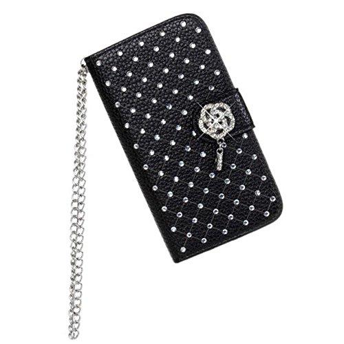 iPhone 4 4S Hülle,COOLKE [schwarz] Flip Cove case Luxury Beautiful Diamond Bling Wallet für Apple iPhone 4 4S 4G Schutzhülle Hülle Schutzschale Schale Handytasche Tasche Etui Case schwarz