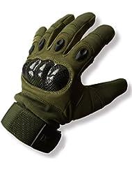 Paintball guantes den-ops oliva verde integral plástico respaldo trasero protector para la mano Airsoft protección, hombre, color Olive Green, tamaño mediano