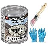 Rostprimer, Rostschutzgrundierung, Autogrundierung mit eingebautem Haftgrund Farbe: grau inkl. Pinsel von E-Com24 zum Auftragen und Nitrilhandschuhe (250 ml)