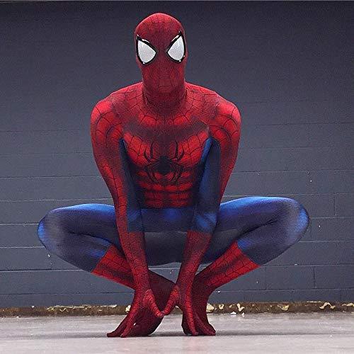 PIAOL Ultimative Muskel-Spider-Man-All-In-One-Strumpfhose Außergewöhnliche Halloween-Strumpfhose Mit Siamesischem Muster Maskerade-Tanzkleidung,Red-XXXL (Muskeln Mit Kostüm Spiderman)