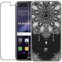 Huawei P8Lite funda de 2017con protector de pantalla de cristal templado, blossom01Ultra Thin Suave TPU carcasa de silicona con carcasa de Gel para Huawei P8Lite 2017 multicolor Mandala 02 Huawei P8 Lite 2017