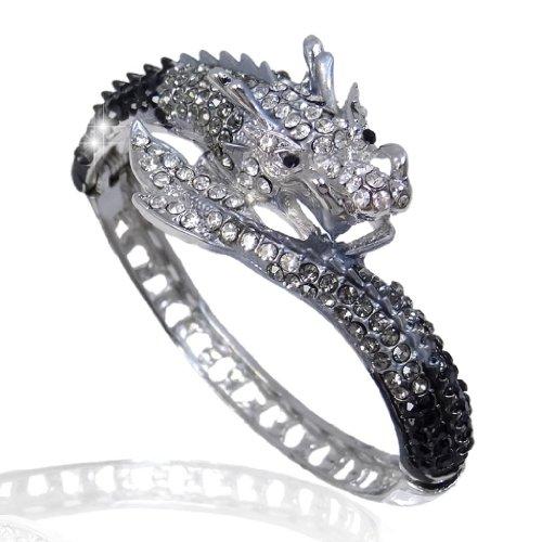 EVER FAITH® Cristal Autrichien Dragon Bracelet Manchette Spécial Ton d'Argent Noir