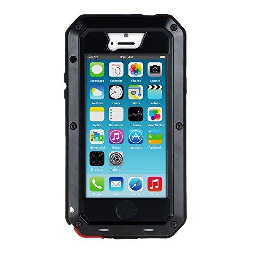 kwmobile Full Body Armor housse pour Apple iPhone SE / 5 / 5S - Housse corps entier en aluminium housse de protection complète case en noir .noir