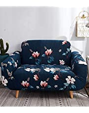 House of Quirk Universal Single Seater Sofa Cover Big Elasticity Cover for Couch Flexible Stretch Sofa Slipcover - Dark Blue Lotus(90-145cm)