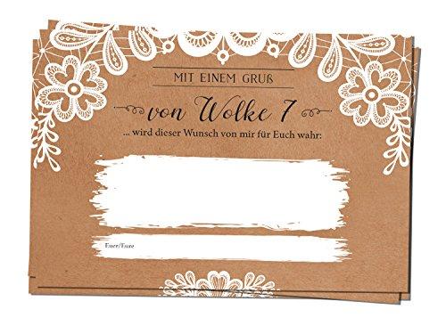 lonkarten Ballonflugkarten Hochzeit Hochzeitskarten Hochzeitsspiel extra leicht Ballon A6 Kraftpapier Sweet Vintage ()