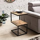 FineBuy Beistelltisch OLAKA S-Form Akazie Massiv-Holz Metall 45 x 60 x 30 cm | Design Wohnzimmertisch Landhaus-Stil | Couchtisch Ablagetisch eckig