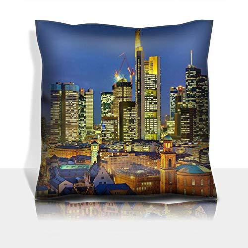 Throw Pillowcase Cotton Satin Comfortable Decorative Soft Pillow Covers Protector Sofa 18x18 1 Pack 21448835 Frankfurt am Main at Night Germany (Am Main Halloween-frankfurt)