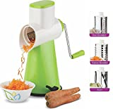 #6: Ankur Vegetable Grater Mandoline Slicer, Rotary Drum Fruit Cutter Cheese Shredder with 3 Stainless Steel Rotary Blades and Suction Cup Feet (Green)