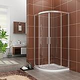 Duschkabine Viertelkreis 80*80cm Duschabtrennung Duschtür ohne Duschtasse Nano Glas Runddusche Schiebetür Dusche Duschwand Höhe 195cm