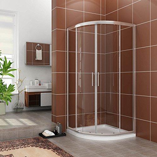 Duschkabine Viertelkreis 80*80cm Duschabtrennung Duschtür ohne Duschtasse Runddusche Schiebetür Dusche Duschwand Höhe 185cm