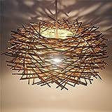 Malovecf Ungewöhnliche Handgemachte Vögel Nest LED Deckenleuchte Twisted Rattan Lampe Pendelleuchten, Braun, 300 * 170MM
