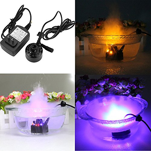 Upxiang Water Fogger 12 LED Mist Maker Air Humidifier Atomizer Fountain Pond Fog Machine (Included AC DC (Nebel Machine Maker)