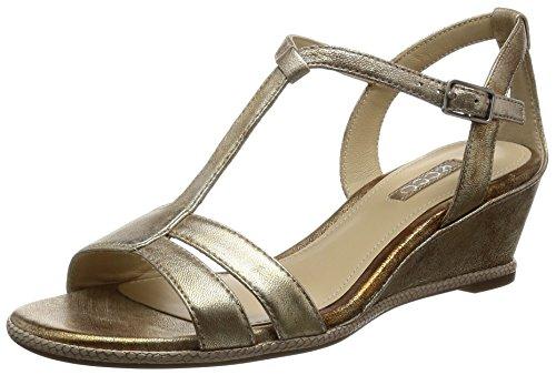 Ecco Damen Rivas 45 II Offene Sandalen mit Keilabsatz, Gold (1091GOLD), 39 EU