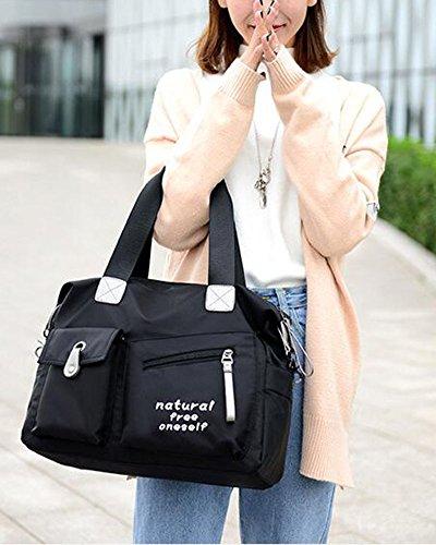 Donna Casual Borsa A Tracolla In Nylon Messenger Bag Blu Nero