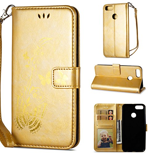 Linvei Bronzing Schmetterling Blume Flip Ledertasche Handyhülle Brieftasche Hülle Schutzhülle für Xiaomi Mi A1 / Mi 5X (5,5 Zoll) - Gold