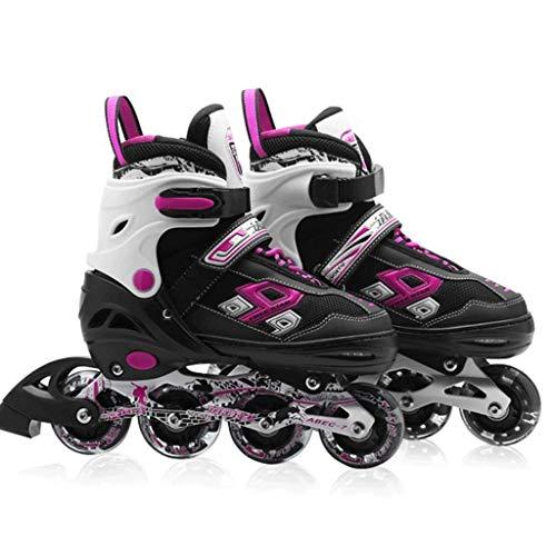 Inline Skates , Unisex Kids LED Rollschuh 4 Rollen Flash Kinder Inline Skates Einstellbare Schuhgröße for Mädchen Jungen (Color : Pink, Size : 36)