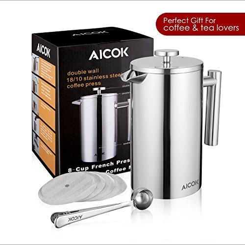 Aicok Kaffeebereiter mit Edelstahlfilter, Kaffeekanne, French Press System mit Zweilagiger Edelstahl Konstruktion – 1L - 7