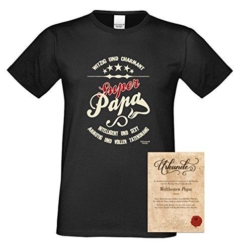 Herren Sprüche-T-Shirt :-: Super Papa :-: als Geburtstagsgeschenk Vatertagsgeschenk Weihnachtsgeschenk :-: auch in Übergrößen :-: mit Geburtstags Urkunde :-: Farbe: schwarz Schwarz