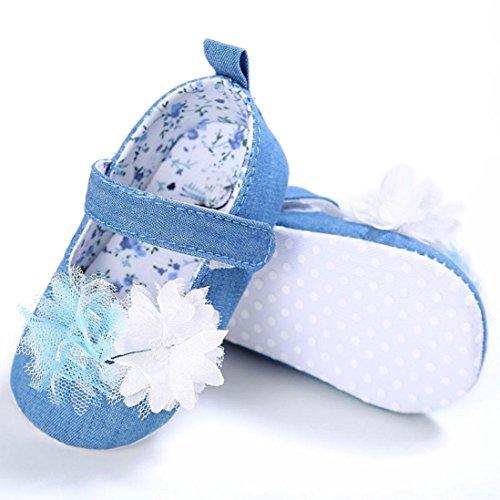 Kingko® Stilvoll und komfortabel Baby Blume Schritt Schuhe Säugling Kinder Mädchen Weiche Sole Krippe Kleinkind Neugeborene Schuhe (0~18 Monat) Hellblau