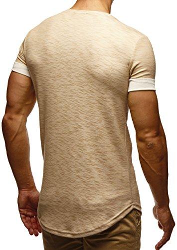 LEIF NELSON Herren T-Shirt Sweatshirt Hoodie Hoody LN6356 Beige