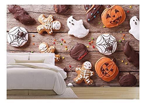 TANGGOOD - festlicher Lebkuchen Halloween auf der Tabelle. Horizontale ansicht von oben entfernbare fototapete   Selbstklebende große Tapete - 66x96 Zoll