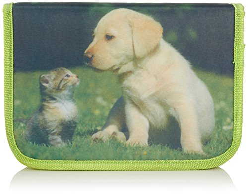 Idena 241121 - Schüleretui Tierkinder Katze/Hund, 50-teilig, grün