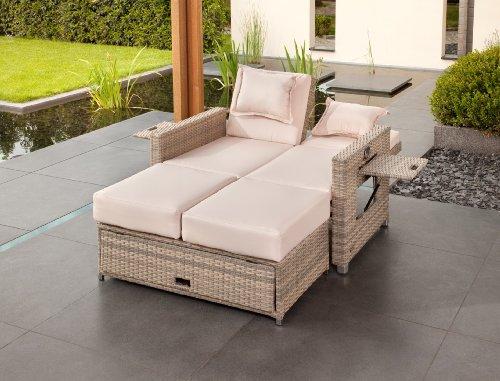 greemotion Bahia Sofa Twin 429106, Love Seat aus Stahl und Polyethylengeflecht, die Rückenlehne ist stufenlos verstellbar, inkl. 8 Nacken- und Sitzkissen, mit Stauraum für die Kissen im Fußteil, die Liege hat 2 Ablagetablets für Getränke, die Maße betragen ca. 121 x 86 x 99 cm - 6