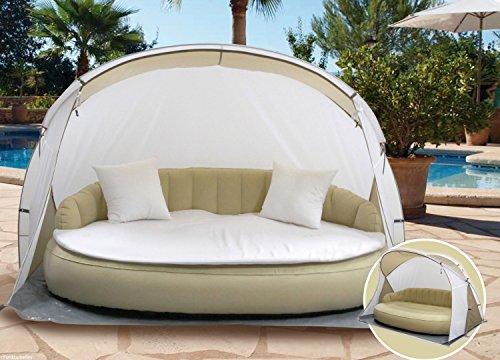Dekovita Air-Lounge 220x130cm aufblasbare Sonneninsel inkl. Auflage Kissen Sonnendach 2-3 Personen Liege bis 200KG Beige - 2
