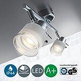 LED Baddeckenleuchte Schwenkbar Inkl. 2 x 5W Leuchtmittel 230V GU10 IP44 Badezimmer Geeignet LED Deckenlampe LED Deckenstrahler LED Badlampe LED