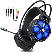 Gaming Headset, EasySMX COOL 2000 Over Ear Stereo Gaming Headphone with Mic and Volume Control, for PC/ MAC / NEW Xbox One / PS4 / Smartphone/ Nintendo Switch, Dynamic LED Lighting (Black-Blue)