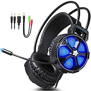 EasySMX TH612-V350 Gaming Headset mit Aufhängung Kopfband LED Lichtrauschen über Kopf Kopfhörer mit drehbarem Mikrofon für PC / PS4 (schwarz)