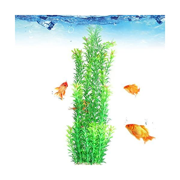 JDYW 52cm Artificial Aquatic Plant Fish Tank Large Plastic Plants with Flowers Fake Aquarium Plants Decoration 20.5 inch