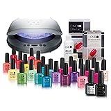 CND SHELLAC 'Complete Colour Wardrobe' Gelnagel-Starter-Set inkl. CND LED-Lampe, 24 Gelfarben, Unterlack, Überlack & mehr