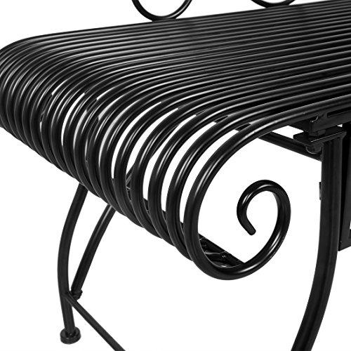 HLC Metall Klassische Bank Gartenbank Liegestuhl aus Eisen 110*44*85 CM - 8