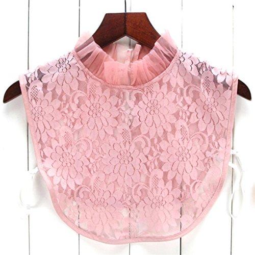 Moonuy Abnehmbare Bluse Fake Collar Halb Hemdbluse Kragen mit Verstellbaren Elastischen Bändern für Frauen Mädchen,Frauen Fake- Halb Hemd Bluse Kragen Kragen Krawatte Weiß (E) (Fringe-hemd)