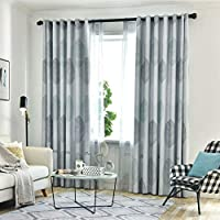 GJXY Printed Kids Curtains Semi Blackout for Children Bedroom Eyelet Thermal Insulated Room Darkening Maple leaf Patterned Curtains for Nursery 1 Panels,Gray,137x175CM