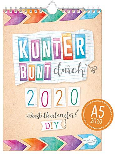 A5+ Bastelkalender 2020 [Kunterbunt] von Trendstuff by Häfft | Fotokalender, DIY-Kalender, Kreativ-Kalender, Geburtstags-Kalender zum Selbstgestalten - mach deinen Liebsten eine Freude!